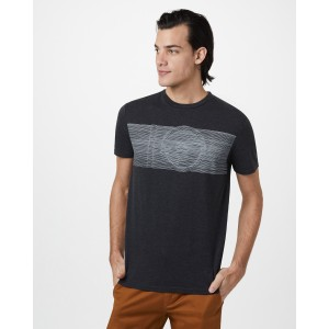 tentree Topographic Classic T-Shirt Mens in Meteorite Black Heather