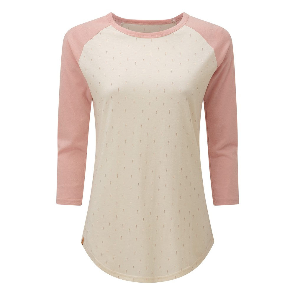 tentree Northwoods Planter Shirt Womens Elm White Heather-Small Tree AOP/ Quartz Pink Heather