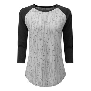 tentree Northwoods Planter Shirt Womens in Hi Rise Grey-Birch AOP/ Meteorite Black Heather