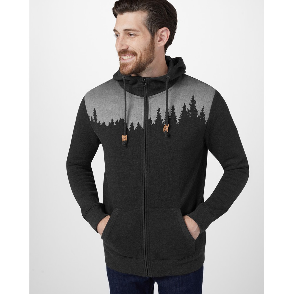 tentree Juniper Zip Hoodie Mens Meteorite Black Heather