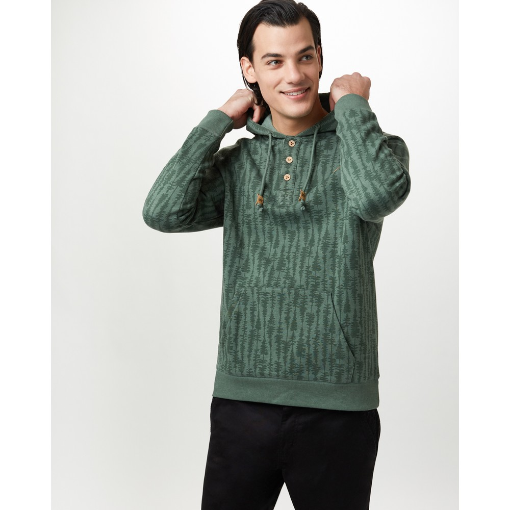 tentree Oberon Hoodie Mens Forest Green Heather - Treestripe AOP
