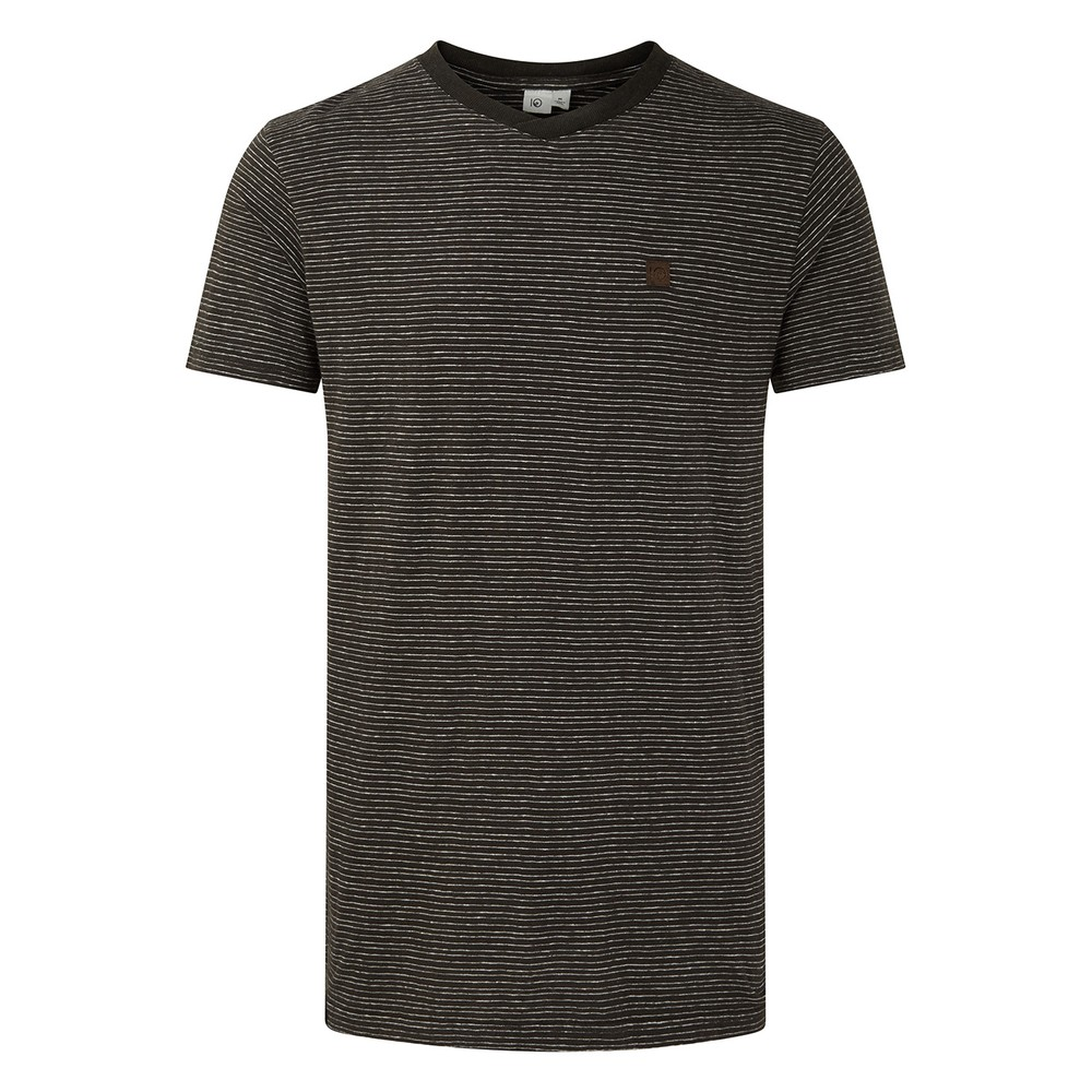 tentree Hemp V-Neck T-Shirt Mens Coal Black/Elm White Stripe