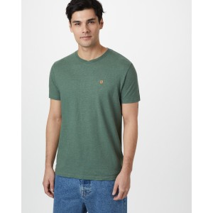 tentree Hemp V-Neck T-Shirt Mens in Forest Green