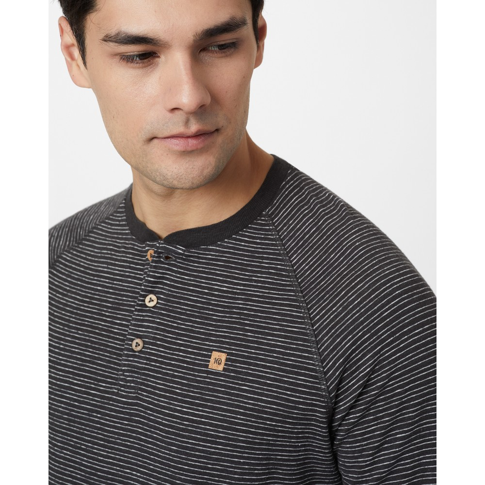 tentree Hemp Longsleeve Henley Mens Coal Black/Elm White Stripe