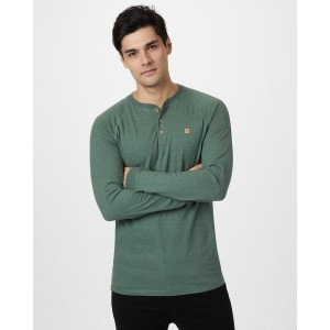 tentree Hemp Longsleeve Henley Mens in Forest Green