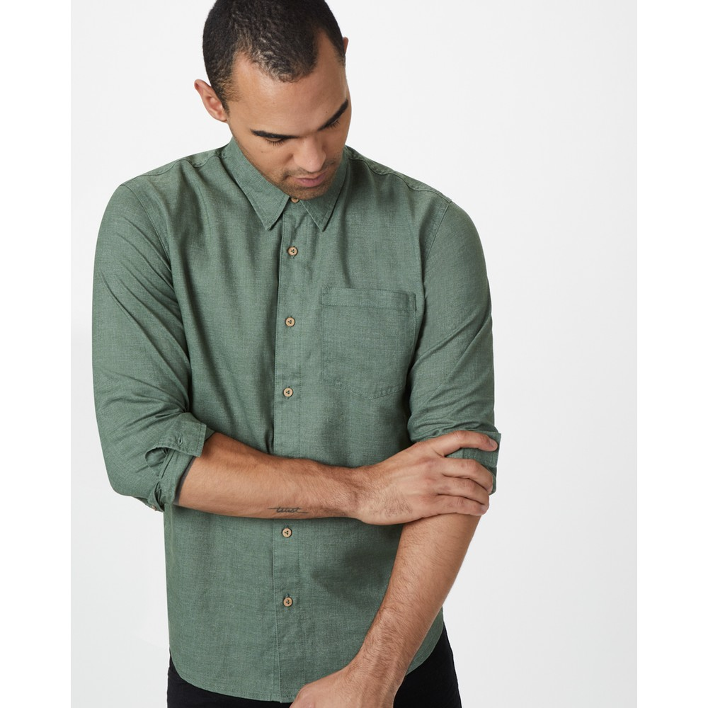 tentree Mancos Hemp Button Up Mens Forest Green
