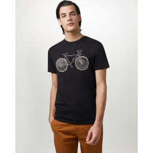 tentree Elm Cotton Classic T-Shirt Mens in Solid Black