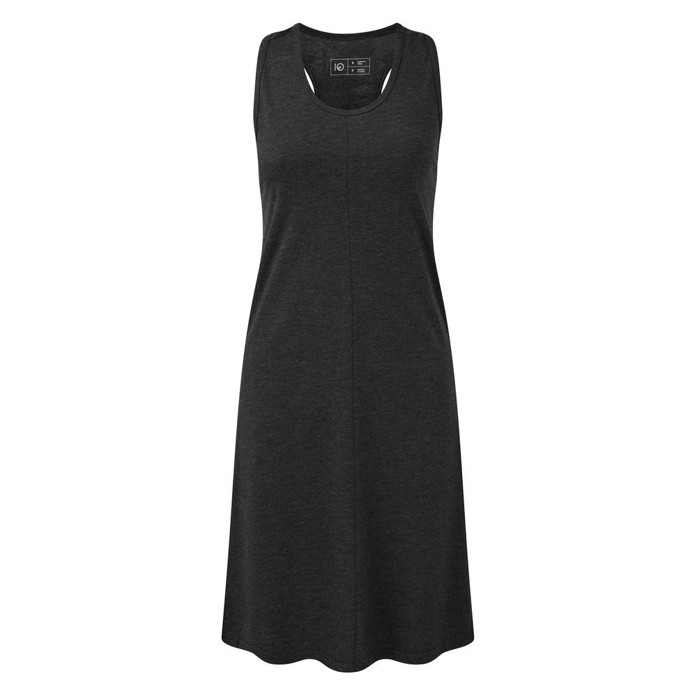 tentree Narayani Dress Womens Meteorite Black Heather - Tonal Leaf AOP