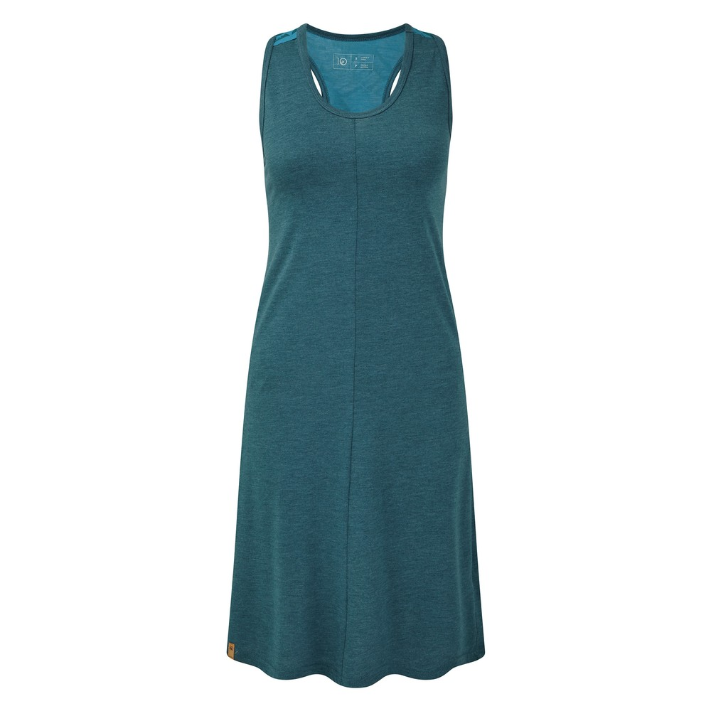 tentree Narayani Dress Womens Star Gaze Blue Heather/Star Gaze Tonal Leaf AOP