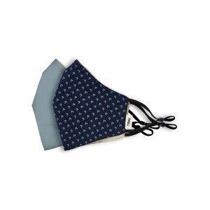 Tilley Endurables Cotton Face Mask in Navy Print/Solid Mid Blue