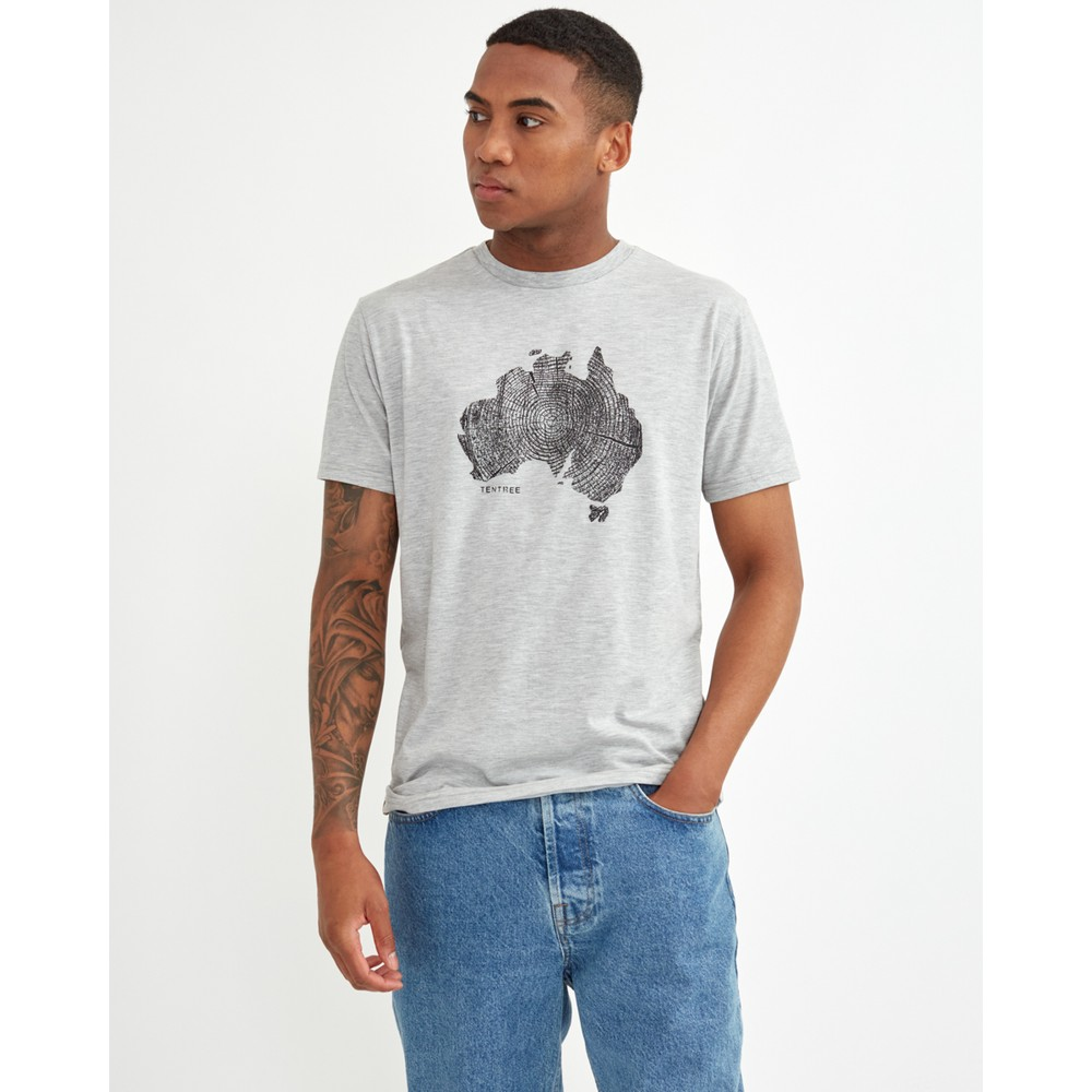 tentree Australia Woodgrain T-Shirt Mens Hi Rise Grey Heather