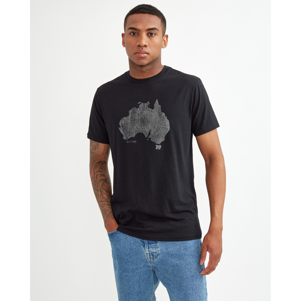 tentree Australia Woodgrain T-Shirt Mens Meteorite Black