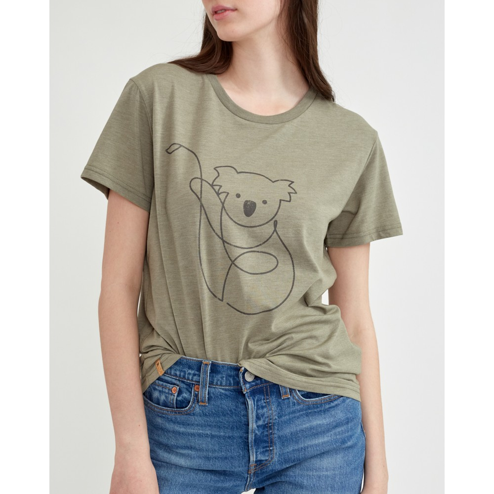 tentree Australia Animal T-Shirt Womens Vetiver Green