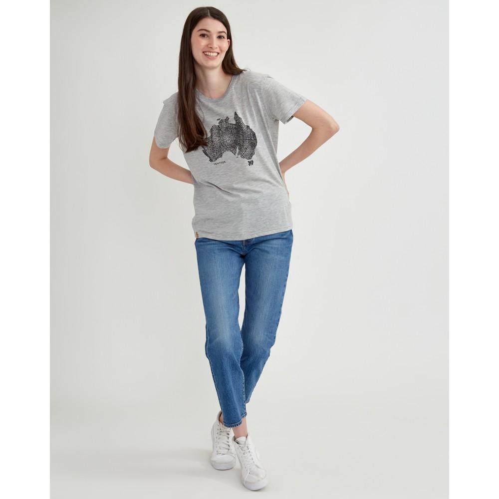 tentree Australia Woodgrain T-Shirt Womens Hi Rise Grey Heather