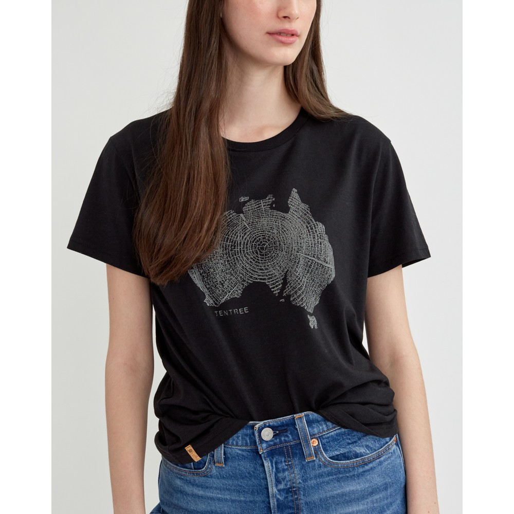 tentree Australia Woodgrain T-Shirt Womens Meteorite Black