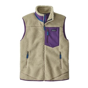 Patagonia Classic Retro-X Vest Men's in Pelican w/Purple