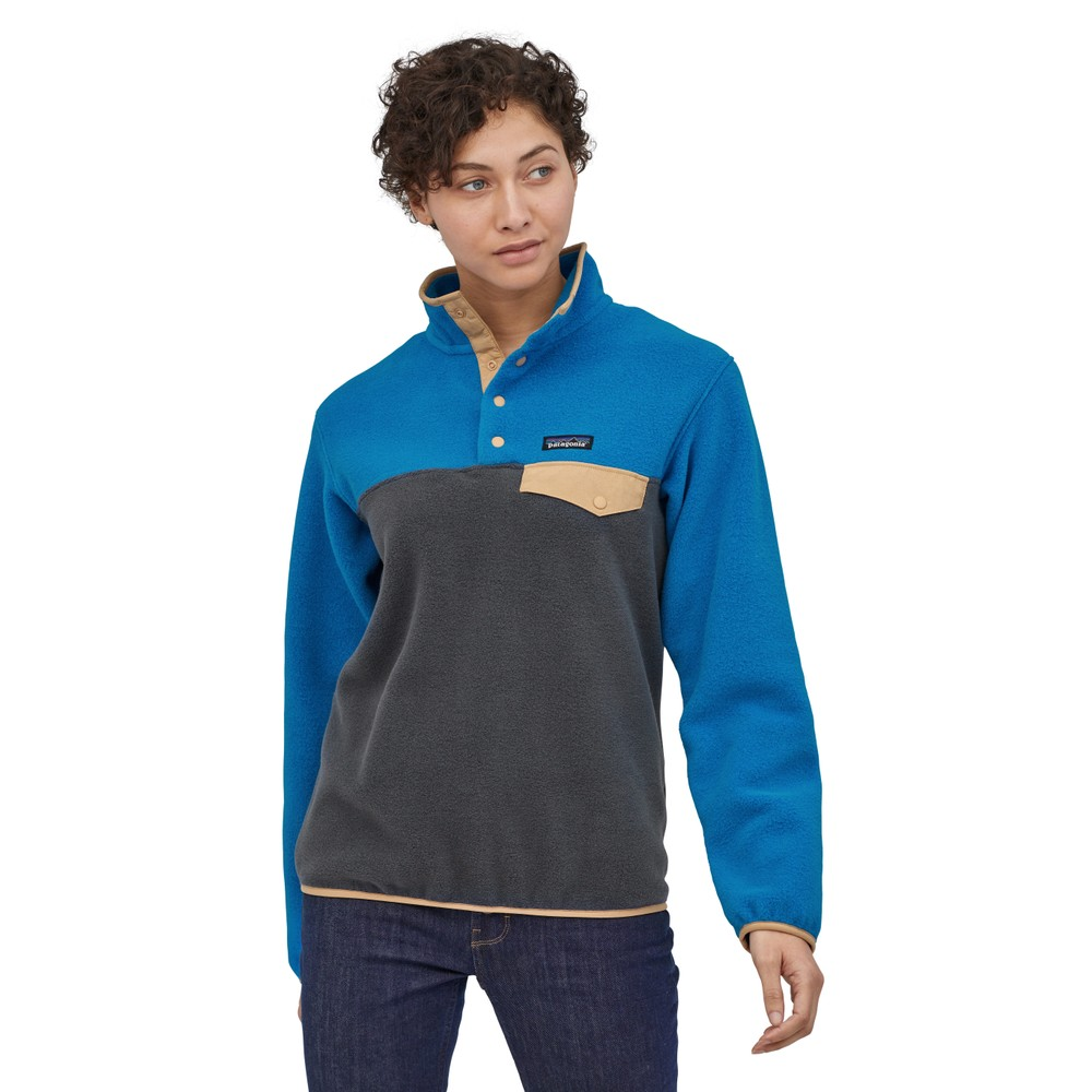 Patagonia LW Synchilla Snap-T Pullover Womens Smolder Blue w/Alpine Blue