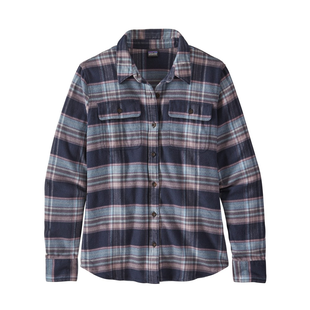 Patagonia LS Fjord Flannel Shirt Womens Cabin Time: Smolder Blue