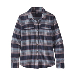 Patagonia LS Fjord Flannel Shirt Womens in Cabin Time: Smolder Blue