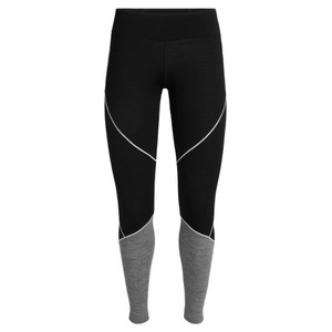 Icebreaker Oasis 200 Deluxe Leggings Womens in Black/Gritstone Hthr