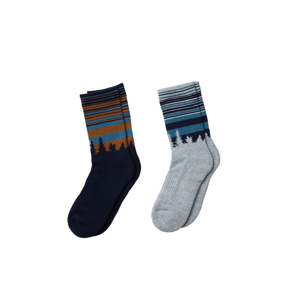 tentree Juniper Crew Sock (2-pack) Dark Ocean Blue/Hi Rise Grey