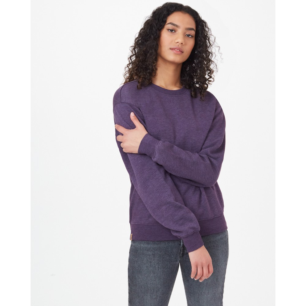 tentree TreeFleece Boyfriend Crew Womens Aubergine Purple Heather