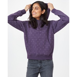 tentree TreeFleece Boyfriend Hoodie Womens in Aubergine Purple/Small Tree AOP