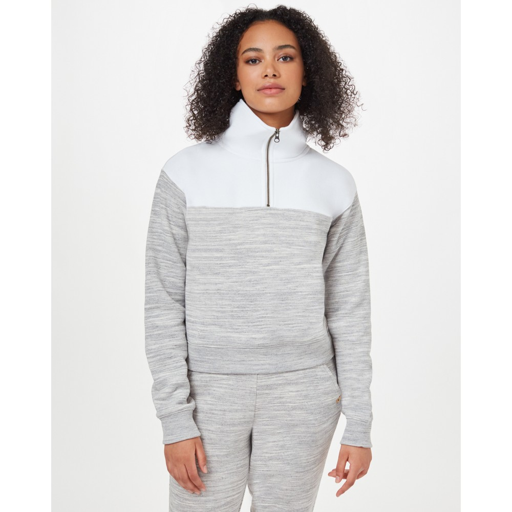 tentree Blocked 1/4 Zip Fleece Womens Hi Rise Grey Space Dye/White