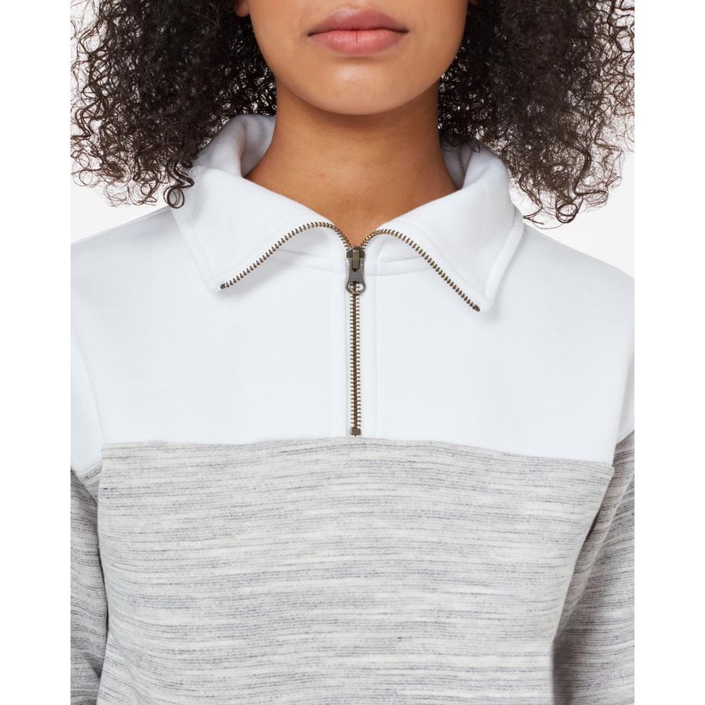 tentree Blocked 1/4 Zip Fleece Womens Hi Rise Grey Space Dye/White