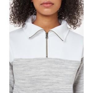Blocked 1/4 Zip Fleece Womens Hi Rise Grey Space Dye/White