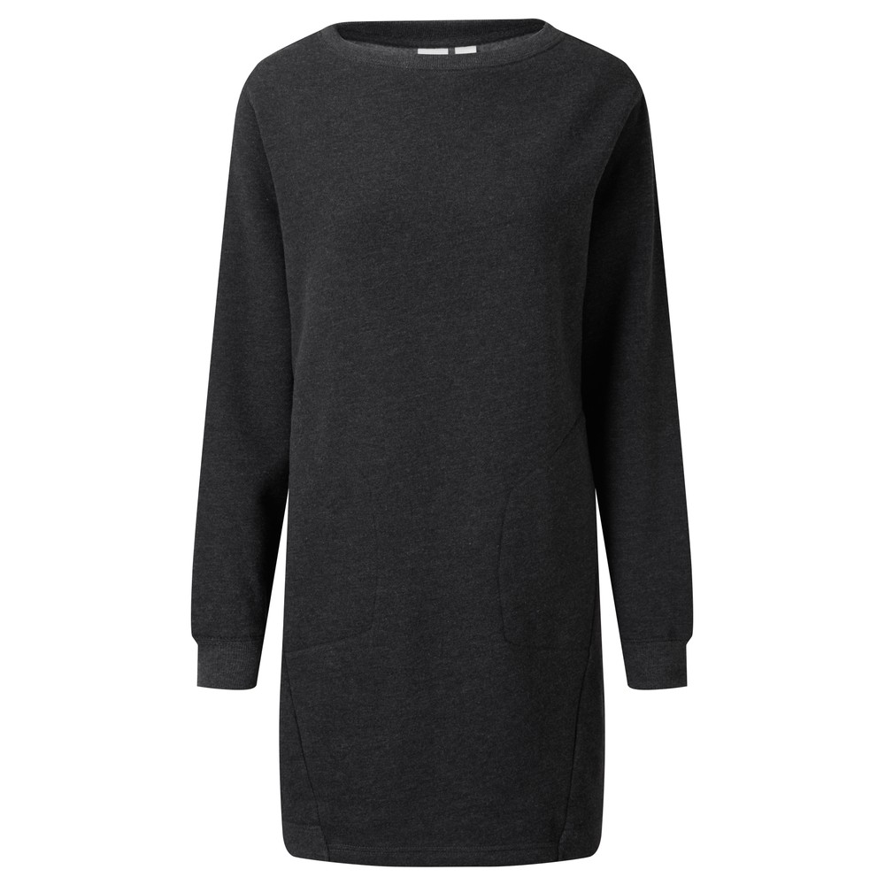 tentree Fleece Crew Dress Womens Meteorite Black Heather