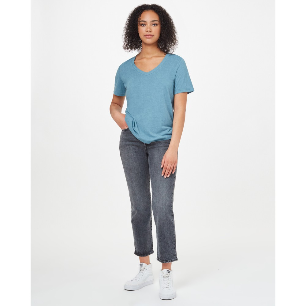 tentree Hemp V-Neck T-Shirt Womens Tide Blue