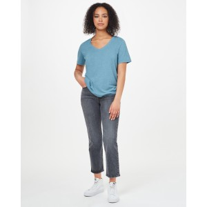 Hemp V-Neck T-Shirt Womens Tide Blue
