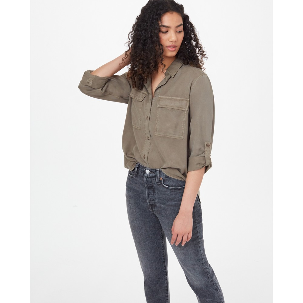 tentree Tencel Everyday Blouse Womens Olive Night Green