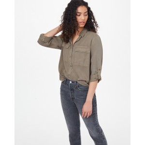 tentree Tencel Everyday Blouse Womens in Olive Night Green