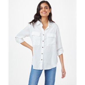 tentree Tencel Everyday Blouse Womens in White