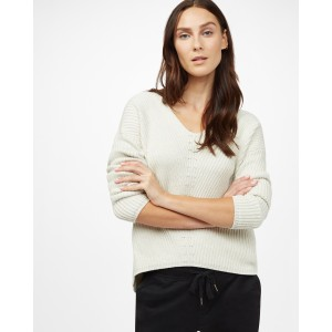 tentree Highline Cotton V-Neck Sweater Womens in Elm White Heather