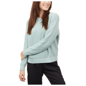 tentree Highline Cotton Crew Sweater Womens in Pine Mist Blue