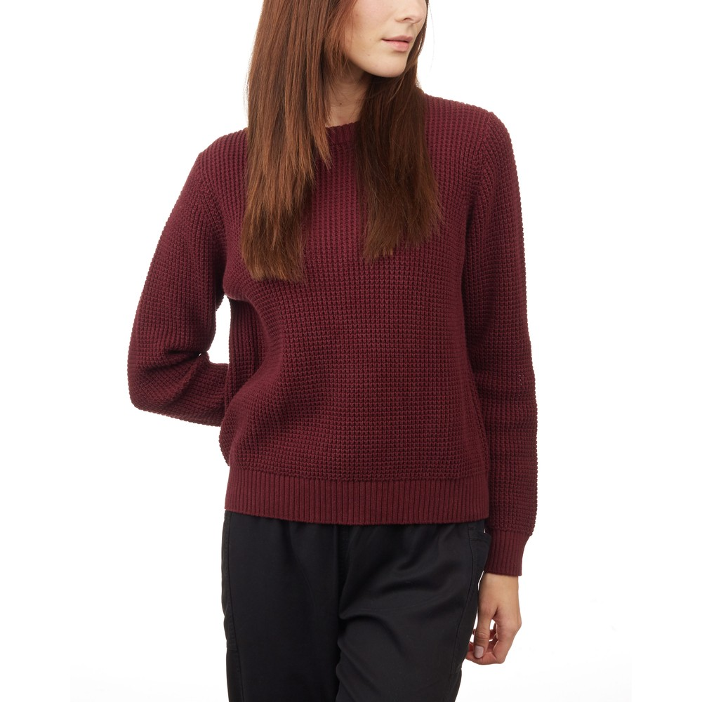 tentree Highline Cotton Crew Sweater Womens Red Mahogany