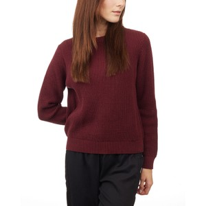tentree Highline Cotton Crew Sweater Womens in Red Mahogany