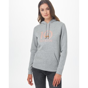 tentree Logo Classic Hoodie Womens Heather Grey/Misty Rose Pink Logo Graphic