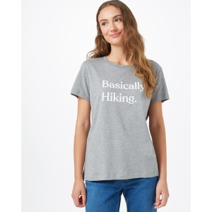 Basically Hiking Boyfriend T-Shirt Womens Heather Grey