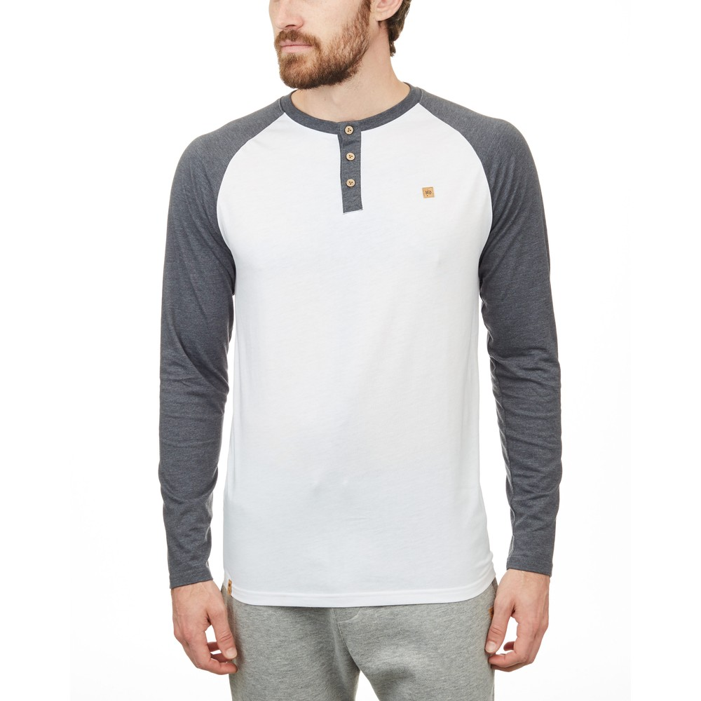 Tendon Ropes Henley Classic Longsleeve Mens White/Gargoyle Grey Heather