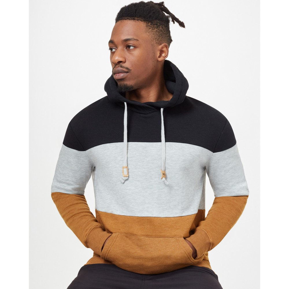 tentree TreeFleece Blocked Reynard Hoodie Mens Meteorite Black Heather/Hi Rise Grey Heather/Rubber Brown Heather