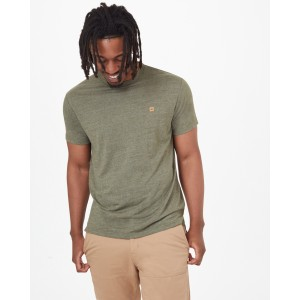 tentree Hemp Step Hem T-Shirt Mens in Olive Night Green