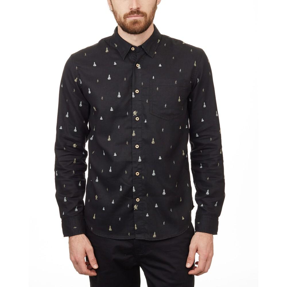 tentree Sasquatch Mancos Longsleeve Shirt Mens Meteorite Black Sasquatch Print