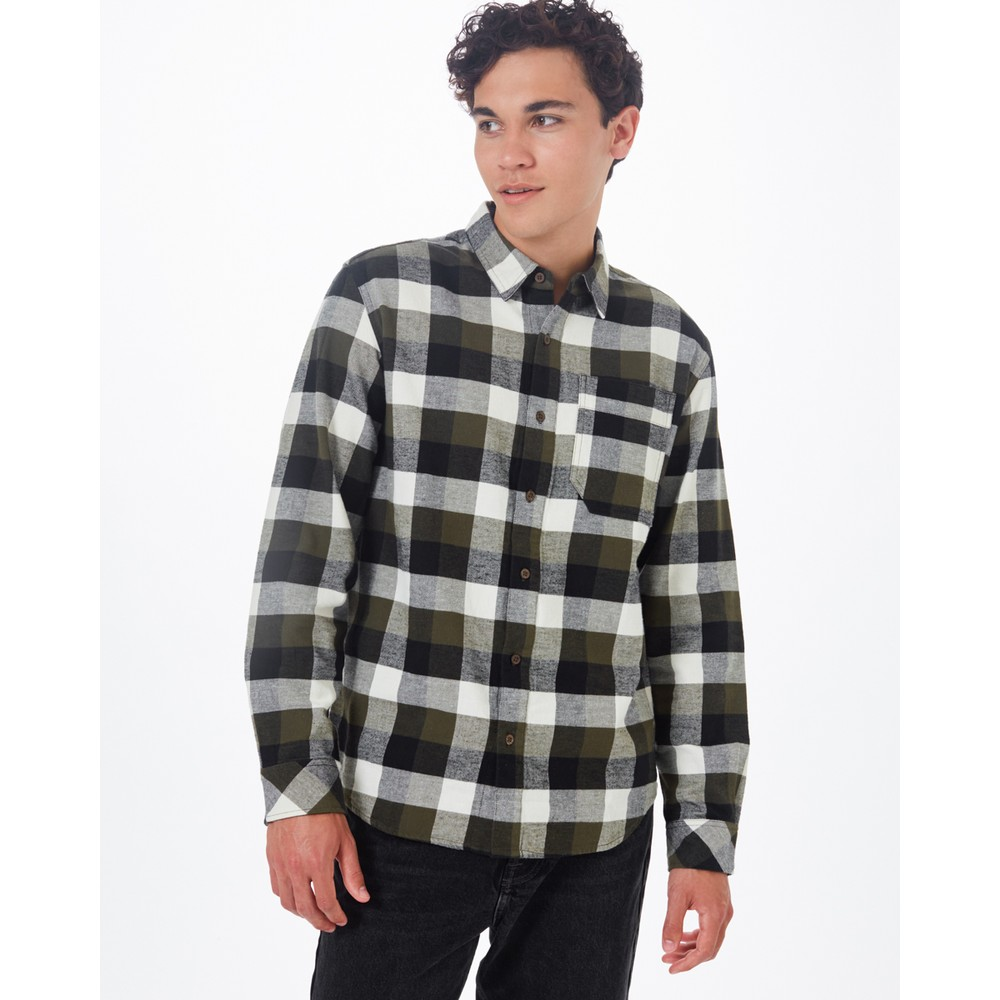 tentree Benson Flannel Shirt Mens Olive Night Green Campfire Plaid