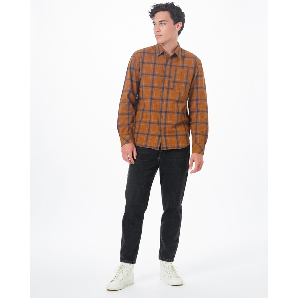 tentree Benson Flannel Shirt Mens Rubber Brown Tree Plaid