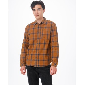 tentree Benson Flannel Shirt Mens in Rubber Brown Tree Plaid