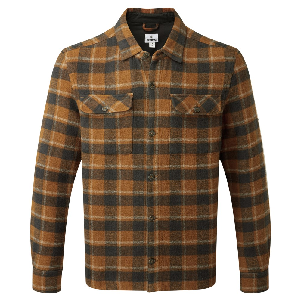 tentree Heavy Weight Flannel Shirt Mens Rubber Brown Retro Plaid